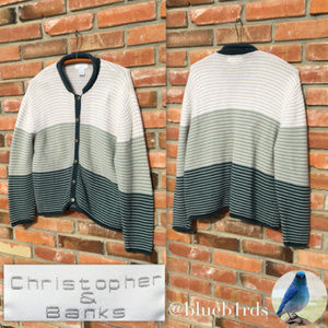 Christopher&Banks Green striped Cardigan